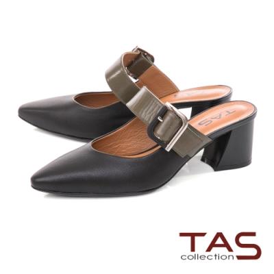 TAS大方金屬飾釦涼拖鞋-百搭黑