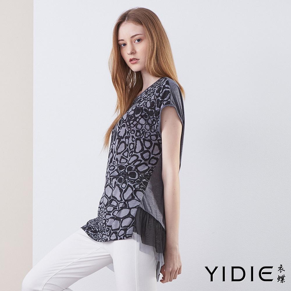 【YIDIE衣蝶】不規則印花拼接長版上衣
