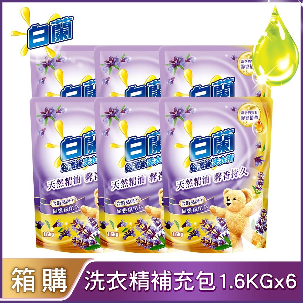 白蘭 含熊寶貝馨香精華洗衣精1.6KGx6入/箱(多款可選)