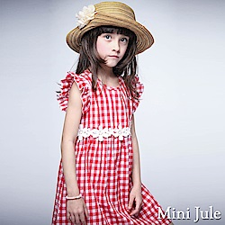Mini Jule 洋裝 花朵蕾絲腰帶荷葉袖格紋洋裝(紅)