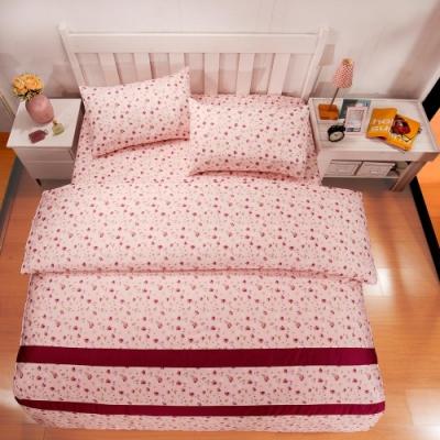 BUTTERFLY-台製40支紗純棉-雙人6x7尺鋪棉兩用被-碎花戀-粉