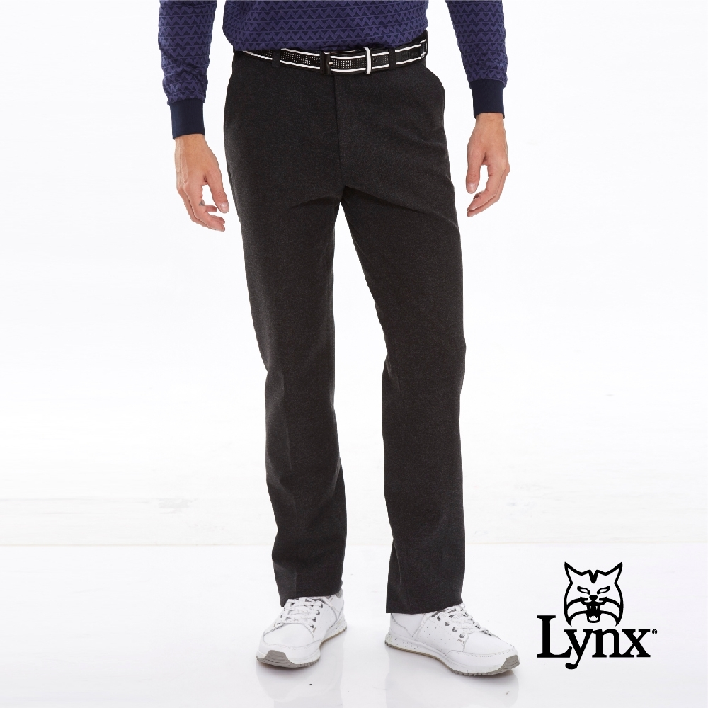 【Lynx Golf】男款素面質感毛料織紋平口休閒長褲-黑色