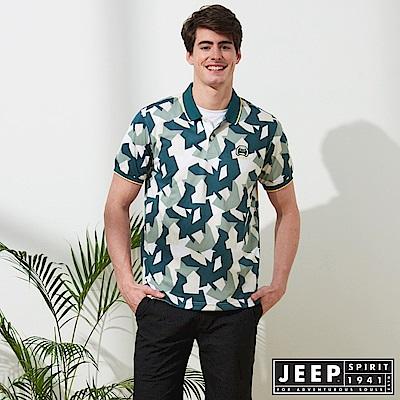JEEP 時尚造型迷彩短袖POLO衫-綠色