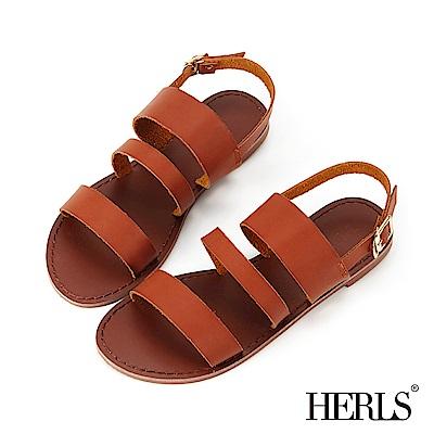 HERLS 度假氣息 三橫帶平底涼鞋-棕色