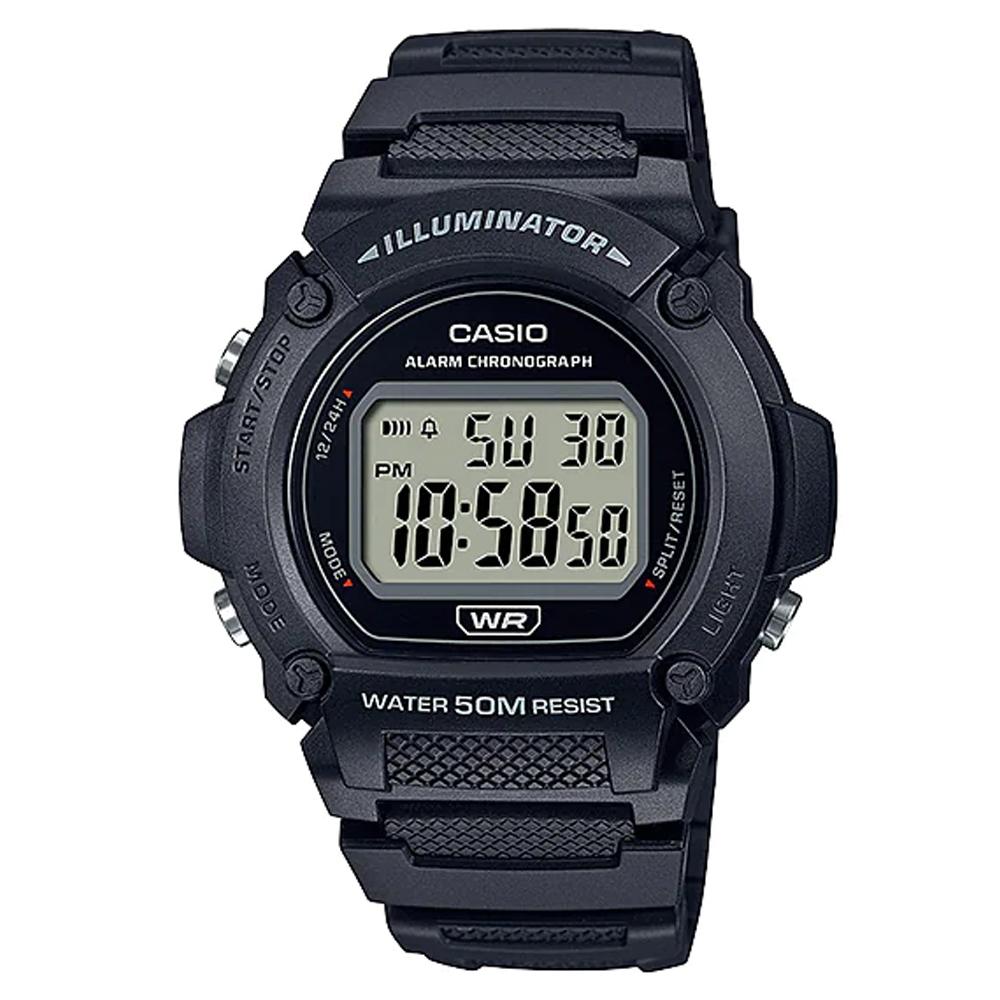 CASIO 復古風造型經典色圓形數位休閒錶-黑(W-219H-1A)/47mm