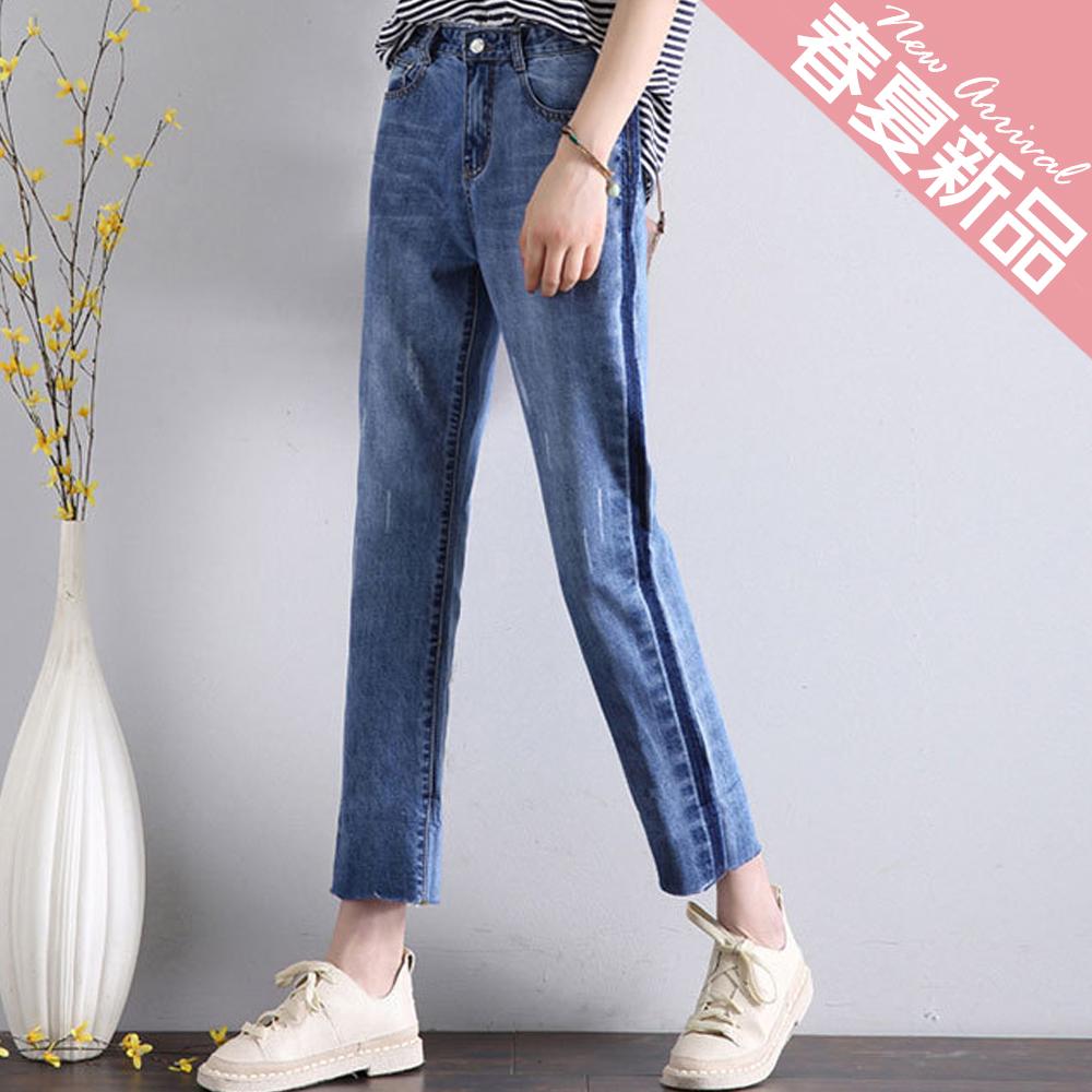男友風刷破九分翻摺牛仔褲 (藍色)-Kugi Girl