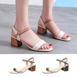 LN 現+預 一字帶仙女風粗跟涼鞋-2色