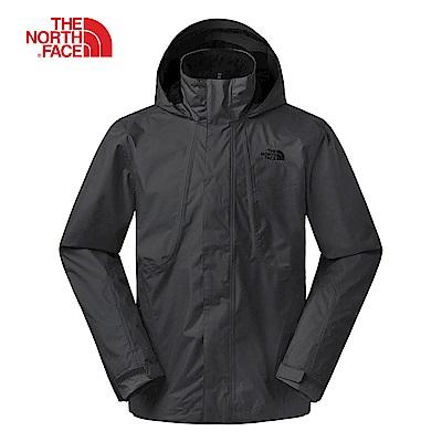 The North Face北面男款黑色防風防水衝鋒衣|3SPIJK3