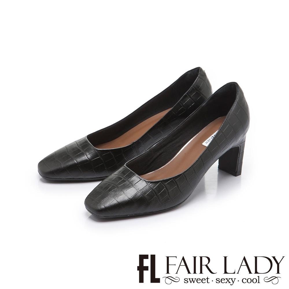 FAIR LADY 優雅小姐 高雅方頭壓紋皮革細跟鞋 黑