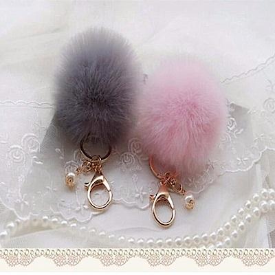 美娜甜心 日系正品高質感珍珠獺兔毛球鑰匙圈/吊飾