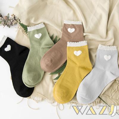 Wazi-白愛心花邊襪口棉質中筒襪 (1組五入)