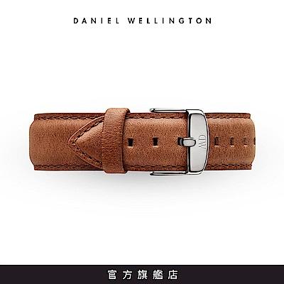 DW 錶帶 18mm銀扣 淺棕真皮皮革錶帶