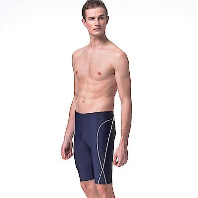 沙兒斯 泳裝 雙曲線紋飾七分男泳褲(深藍)(大尺碼)
