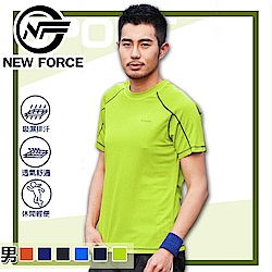 NEW FORCE 冰涼速乾蜂窩透氣男女排汗衫-男款果綠