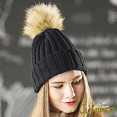 JUNIPER 女款雙層加厚針織保暖防風毛線冬帽+可拆卸毛球