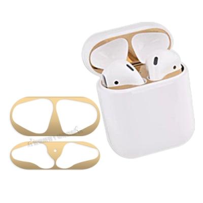 AirPods 1/2代通用款 金屬色防塵保護貼 耳機盒黑點防塵貼(2組入)
