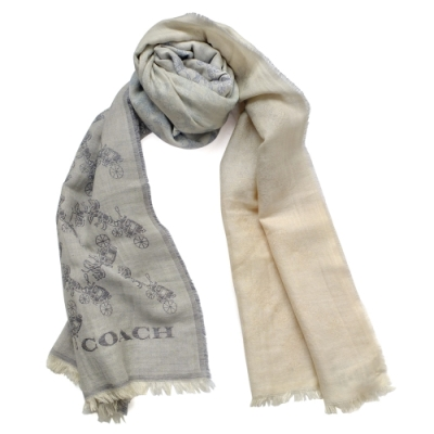 COACH灰藍漸層滿版馬車圖印羊毛長圍巾(198x63CM)