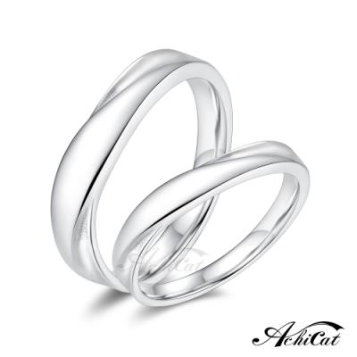 AchiCat純銀戒指男女情侶925銀戒子摯愛不渝