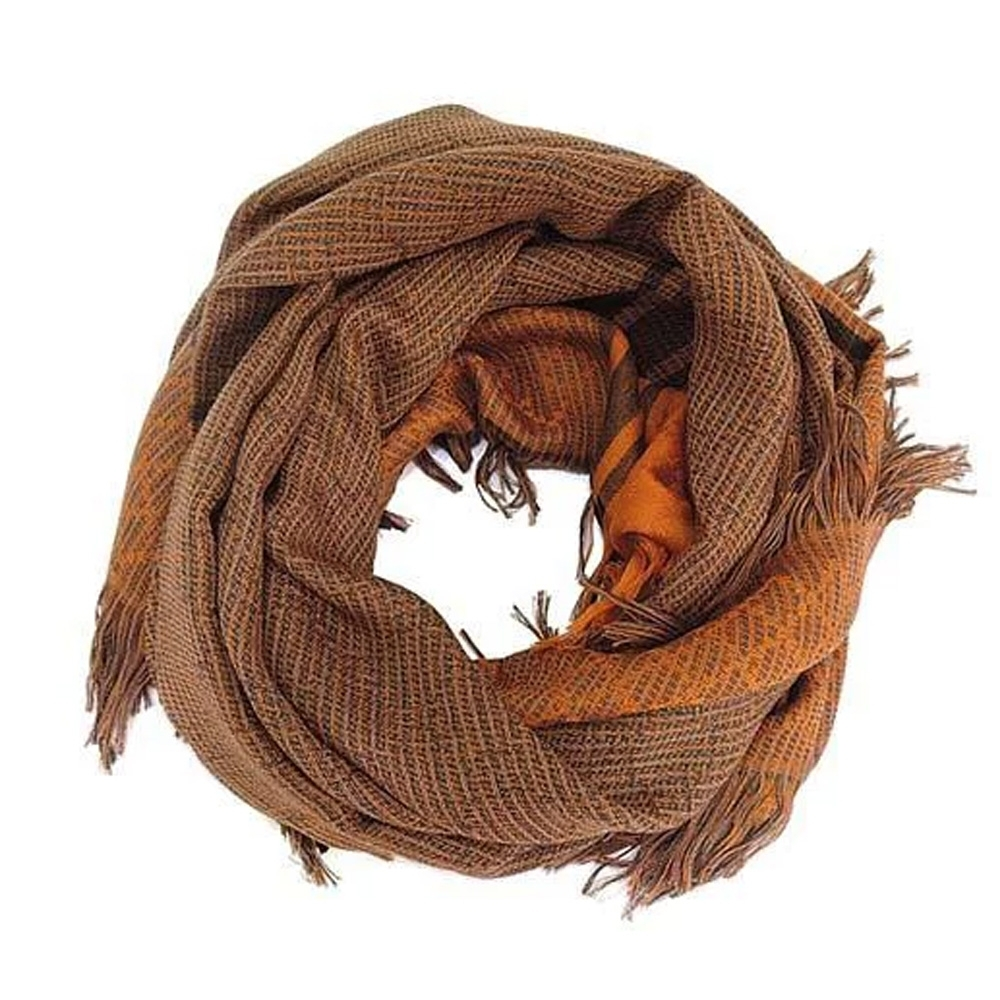 GUCCI 印花羊毛方形圍巾(橘x咖)