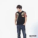 BIG TRAIN 加大款-火燄雙龍圓領短袖-男-黑色