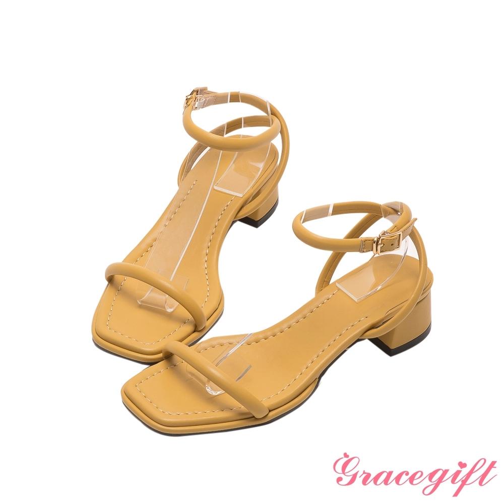 Grace gift-交叉繫踝中跟涼鞋 黃