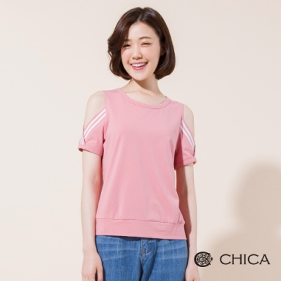 CHICA 盛夏活力露肩羅紋短袖T恤(2色)