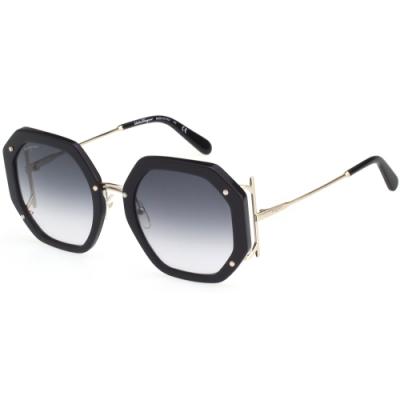 Salvatore Ferragamo 多邊形 太陽眼鏡 (黑色)