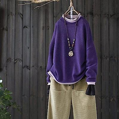 假兩件疊穿拼色卷邊領毛衣針織衫-設計所在