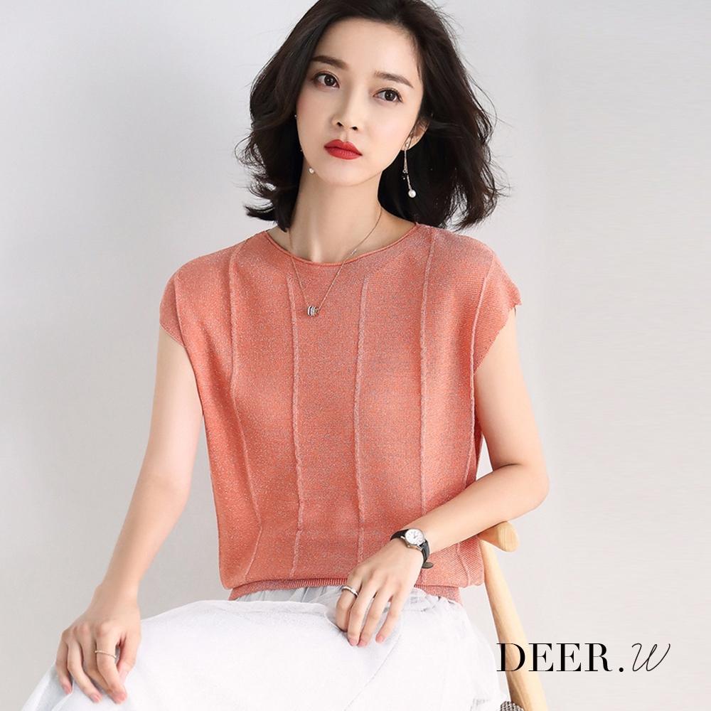 DEER.W 車線半袖金絲針織上衣(粉橘)
