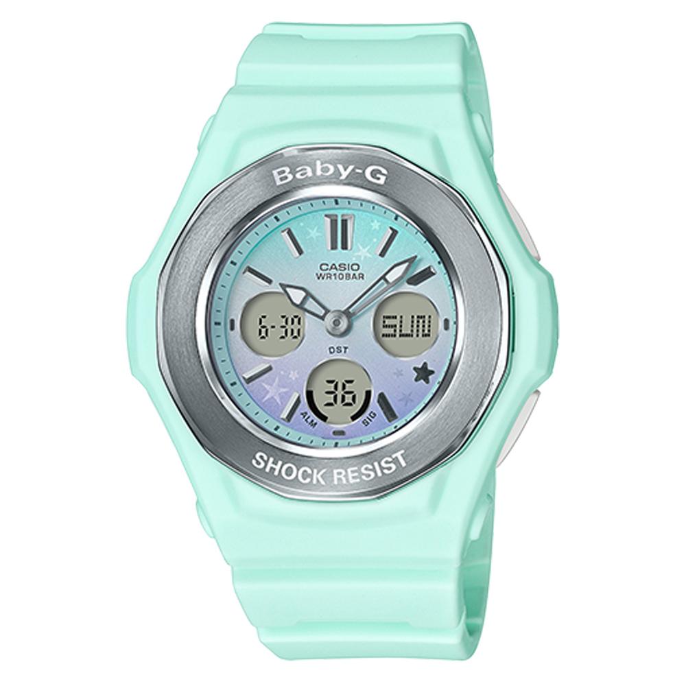 BABY-G可愛星星圖樣天空漸層色彩設計休閒錶(BGA-100ST-3)粉綠色43.3mm
