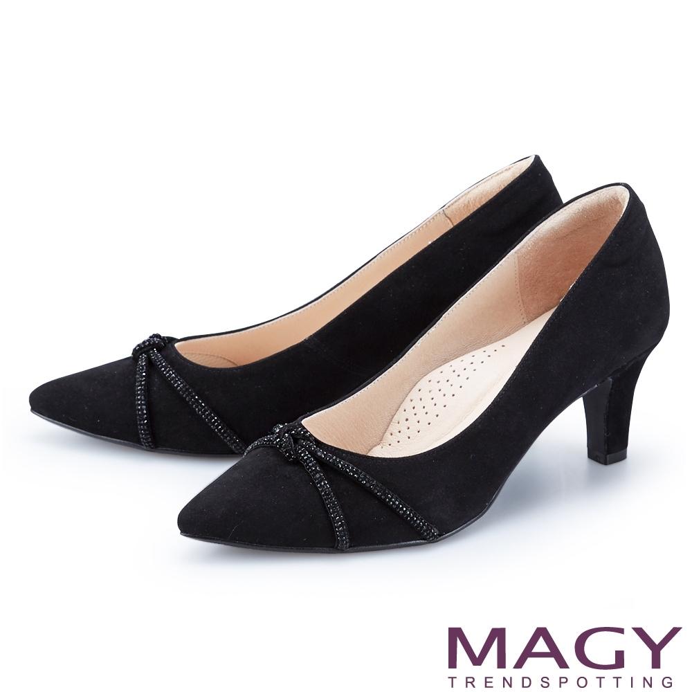 MAGY 水鑽條飾絨布尖頭 女 高跟鞋 黑色