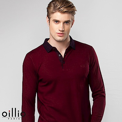 歐洲貴族oillio 長袖毛衣 簡約款式 POLO領設計 紅色