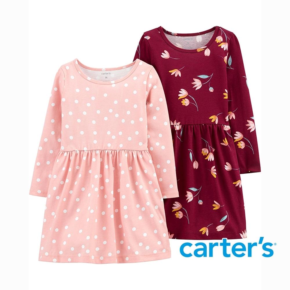 【Carter's】點點花瓣2件組長袖洋裝(2T-5T) (台灣總代理)