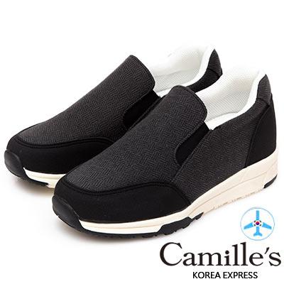 Camille's 韓國空運-毛呢配色運動懶人休閒鞋-黑色