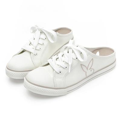 PLAYBOY活力甜心休閒綁帶穆勒鞋-白-Y622311