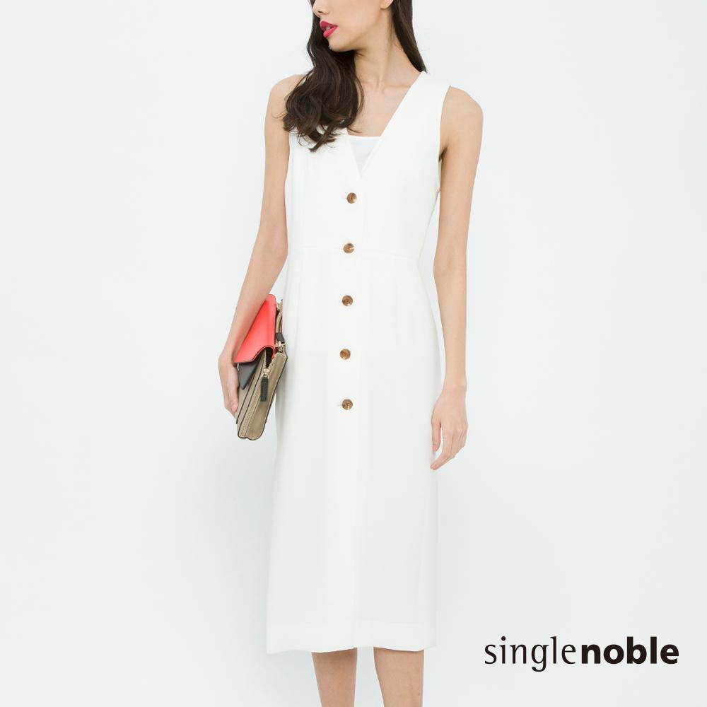 獨身貴族 摩登經典側開衩排釦設計洋裝(2色)
