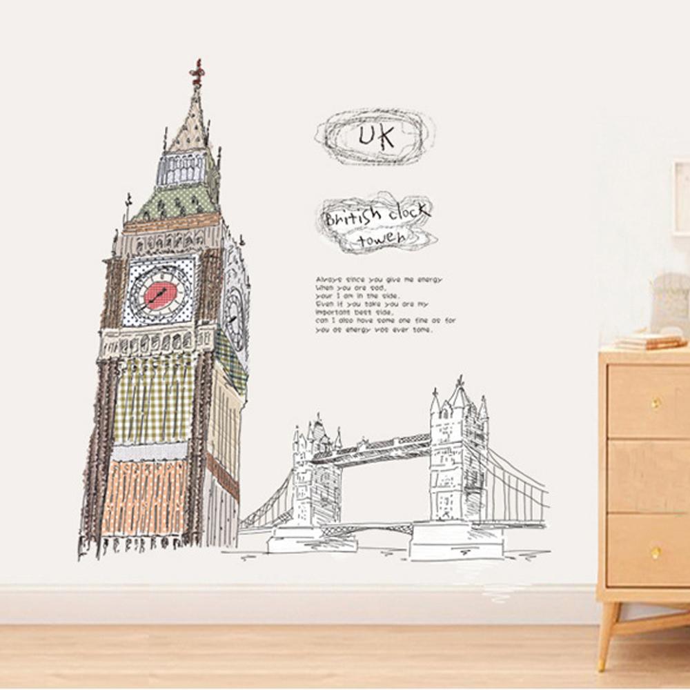 半島良品 DIY無痕壁貼-倫敦大笨鐘 AY859 60x90cm