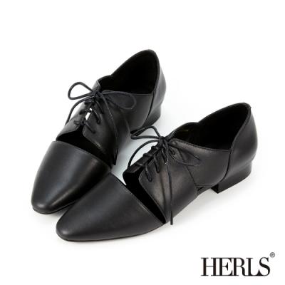 HERLS牛津鞋-全真皮馬甲綁帶鏤空牛津鞋-黑色