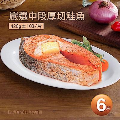 築地一番鮮-嚴選中段厚切鮭魚6片(420g/片)免運組