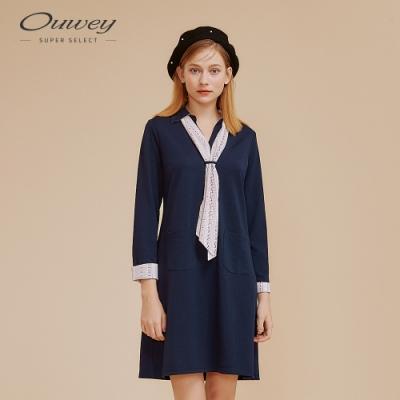 OUWEY歐薇 都會感彈性縲縈仿絲巾洋裝(藍)