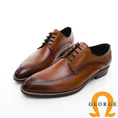 【Amber】商務時尚 圓頭立體楦頭紳士皮鞋-棕色