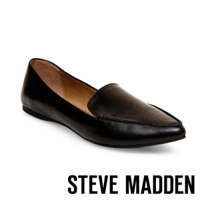 STEVE MADDEN-FEATHER 城市雅痞感真皮尖頭平底鞋-黑色