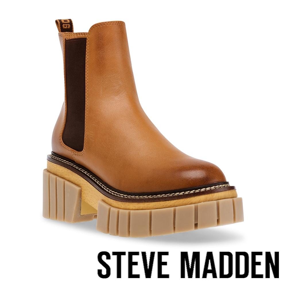 STEVE MADDEN-HAILSTORM 素面厚底中筒靴-卡其色