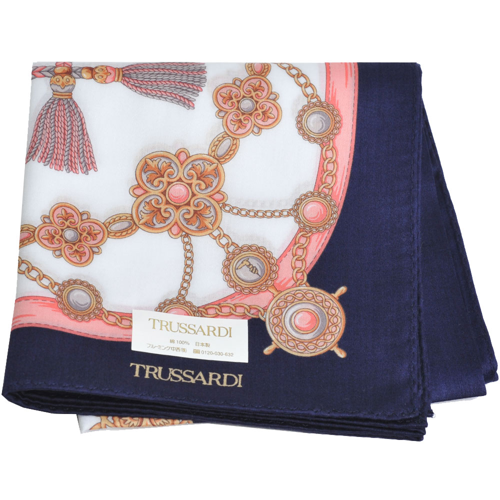 TRUSSARDI 優雅品牌流蘇串鍊圖騰LOGO大帕領巾(深藍系) @ Y!購物