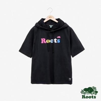 女裝Roots- 厚棉短袖連帽上衣-黑