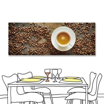 【24mama 掛畫】單聯式 咖啡 拿鐵 橫幅 咖啡豆 無框畫 80x30cm(拿鐵)