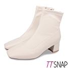 TTSNAP短靴-素面皮革方頭中跟襪靴 米
