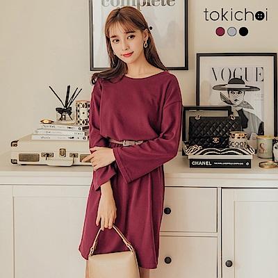 東京著衣 高質感舒適多色簡約百搭腰鬆緊洋裝(共三色)