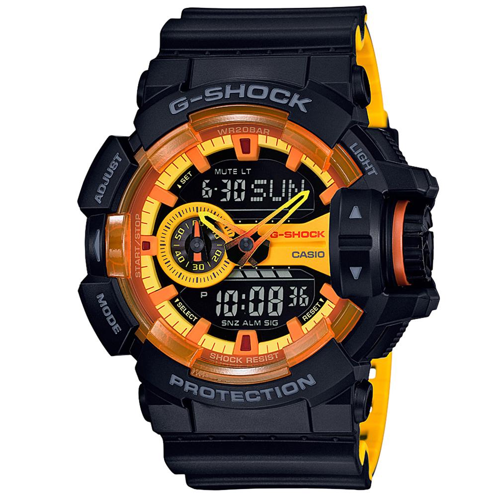 G-SHOCK立體大錶面澄黃配色搶眼概念休閒錶(GA-400BY-1)51.9mm