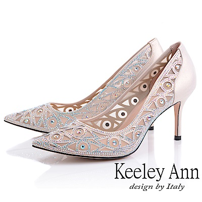 Keeley Ann耀眼新娘 簍空花紋鑲鑽高跟鞋(淺金色-Ann系列)